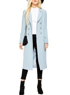 AmazonSmile: Azbro Women's Notch Lapel Double Breasted Long Trench Coat, Light Blue L: Clothing
