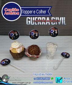 capitão américa guerra civil topper e saia para cupcake para decorar sua mesa de guloseimas