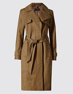 Buttonsafe™ Cotton Rich Belted Trench Coat with Stormwear&trade