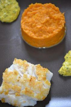 Cabillaud pané à la poudre d'amande et purée de patate douce