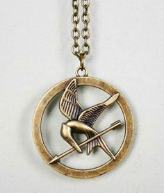 The hunger game jewelry Arrow mockingjay necklace - Antique bronze $4.00+$6.00 shipping