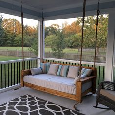 Sunbrella Daybed Custom Cushion - Crib Mattress - Farmhouse Decor - Porch Swing / Glider / Swing Bed - Outdoor Fabric - x x Cover - Modern Design Porch Bed, Diy Porch, Diy Patio, Porch Glider Swing, Porch Ideas, Screened Porch Designs, Backyard Patio Designs, Front Porch Seating, Screened In Porch Furniture