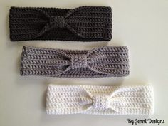 By Jenni Designs: Bow Ear Warmer Pattern, #crochet, free pattern, #haken, gratis patroon (Engels), haarband, oorwarmer