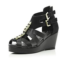 Girls black strappy open toe wedges - bridesmaid shoes