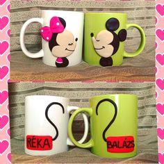 Mickey minnie mouse polymerclay handmade homemade valentines day happy love couple mug