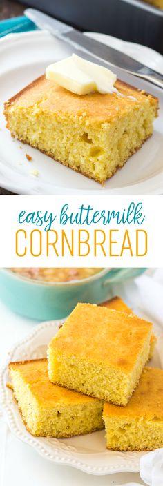 Easy Buttermilk Cornbread Recipe | Sweet Cornbread | Southern Cornbread | Old-Fashioned Corn Bread | Amish Cornbread Recipe