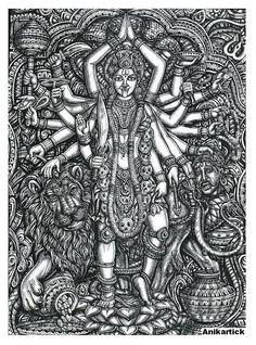 easy tips for pencil drawing , Kali Goddess, Indian Goddess, Kali Tattoo, Kali Mata, Shiva Art, Shiva Shakti, Kerala Mural Painting, Hindu Deities, Hinduism