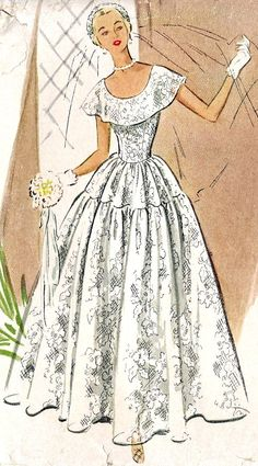1950s Brides or Bridesmaid Dress, Wedding Dress Sewing Pattern McCall 8436