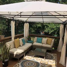 W x Ft. D Steel Patio Gazebo Canopy Gazebo On Deck, Gazebo Canopy, Backyard Gazebo, Backyard Landscaping, Landscaping Ideas, Spanish Landscaping, Backyard Cafe, Big Deck, Landscaping Company