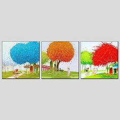 【今だけ☆送料無料】 アートパネル  自然・風景画3枚で1セット 青 オレンジ 赤 ツリー 景色【納期】お取り寄せ2~3週間前後で発送予定