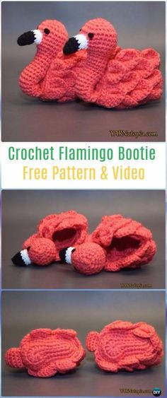 Crochet Flamingo Baby Booties Shoes Free Pattern -Crochet Baby Booties Slippers Free Patterns yarnutopia
