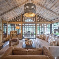 36 popular rustic farmhouse living room decor ideas for comfortable home House Design, Vaulted Ceiling Living Room, House, Beautiful Houses Interior, Living Room Decor Country, House Plans, Sunroom Designs, House Interior Decor, Country Living Room