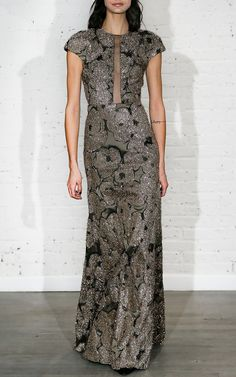 Tulle Inset Column Gown with Detachable Brooch by Lela Rose