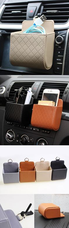 【US$6.11】Auto Air Vent Car Storage Bag Multi-functional Pu Phone Bag Ditty Bag #carstorage #cardecoration #storageideas