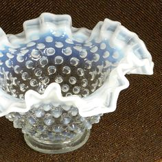 Vintage Opalescent Hobnail Milk Glass Bowl by BoudreauCollection, $40.00