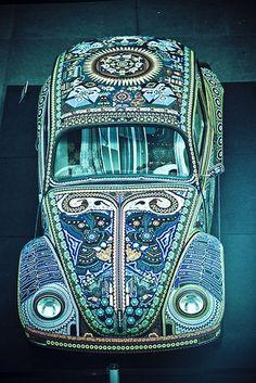 blue mosaic volkswagon bug
