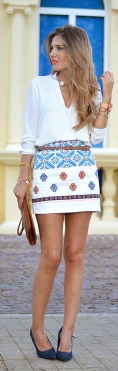 Vintage Pattern Printing Skirt -   Helena