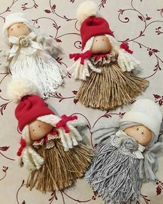 Discover thousands of images about mini doll Felt Christmas, Christmas Angels, Christmas Projects, Christmas Ornaments, Ornaments Image, Angel Ornaments, Cute Crafts, Yarn Crafts, Burlap Christmas Decorations