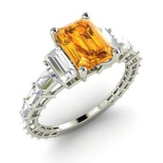 Emerald-Cut Citrine Ring in 14k White Gold with VS Diamond