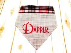 Gray linen look bandana. personalized with patriotic plaid on the reverse side.  Two different looks for your pup.  Comes With collar. by CollarRap on Etsy