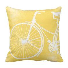 Yellow Bicycle Square Throw Pillow Case Cushion Cover Fashion Home Decorative Pillowcase Cotton Polyester Pillow x Two Sides) Yellow Throw Pillows, Yellow Cushions, Grey Pillows, Yellow Couch, Bedroom Yellow, Accent Pillows, Couch Pillows, Dream Bedroom, Yellow Throws