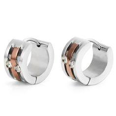 Cubic Zirconia Mens Hoop Huggie Earrings CZ Silver Bronze by RnB Jewelry | RnBJewellery