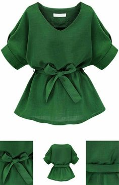 Green V Neck Bow Tie Short Sleeve Blouse tsamts Casual Mode, Tie Shorts, Mode Inspiration, Short Sleeve Blouse, Short Sleeves, My Wardrobe, African Fashion, Korean Fashion, Diy Clothes