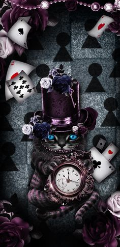 Gold Wallpaper Android, Clock Wallpaper, Dark Wallpaper, Wallpaper Lockscreen, Cheshire Cat Wallpaper, Cheshire Cat Art, Alice In Wonderland Poster, Beautiful Wallpapers For Iphone, Alice Book