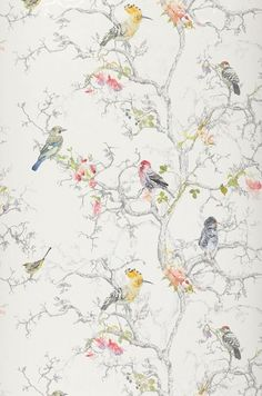 New Wallpaper Accent Wall Living Room Blue Bathroom Ideas Bird Wallpaper, Trendy Wallpaper, Bathroom Wallpaper, Pattern Wallpaper, Wallpaper Backgrounds, Nice Wallpapers, Shabby Chic Wallpaper, Paint Bathroom, Wallpaper Desktop