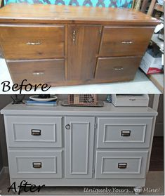 Checkout this site for great before and after furniture updating projects. Fabulous credenza painted grey with bin pulls added! Checkout this site for great before and after furniture updating projects. Fabulous credenza painted grey with bin pulls added! Refurbished Furniture, Repurposed Furniture, Furniture Makeover, Painted Furniture, Dresser Makeovers, Painting Laminate Furniture, Furniture Update, Desk Makeover, Furniture Projects