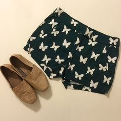 J. Crew Shorts J. Crew green and white, butterfly print, shorts. Lightly worn. J. Crew Shorts