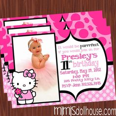 Hello Kitty Party Invitations Pink Gold Glitter Pinterest