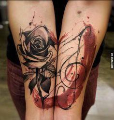 Rose - treble clef - water color - black and red tattoo