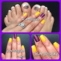 My French toes and my natural nails with OPI Gel Color and yellow rhinestones