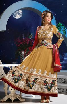 USD 64.6 Aliya Brown Floral Patch Work Ankle Length Anarkali Suit  40444