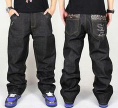 99 Hip Hop Men Simplicity Pants Retro Styles PU Decorated Pocket Casual Jeans | eBay