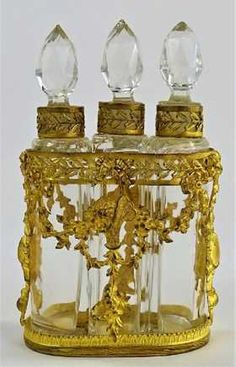 ANTIQUE FRENCH THREE BOTTLE PERFUME CLUSTER