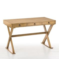 """Arteriors Cain Natural Limed Oak Desk @Zinc_Door $2880   A versatile piece complementing modern and transitional design, the Cain desk by Arteriors combines a simple table top with a stylish X-base. The white limed wash finish warms the industrial chic look of this oak desk.  47.5""""W x 23.5""""D x 29.5""""H  Natural limed oak finish One drawer"""