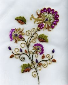 Bead embroidery by Carole Magne Tambour Beading, Tambour Embroidery, Couture Embroidery, Silk Ribbon Embroidery, Hand Embroidery Designs, Beaded Embroidery, Embroidery Stitches, Embroidery Patterns, Bordados Tambour