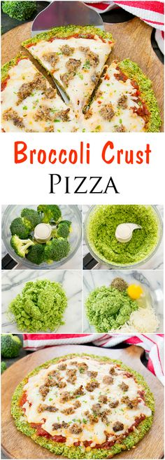 Broccoli Crust Pizza. Low carb, gluten free, and flourless!