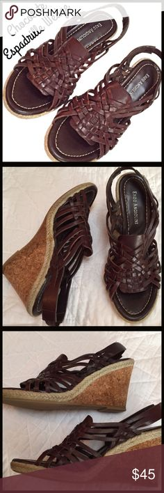 """Chocolate Brown Espadrille Wedge Chocolate brown leather woven wedge sandal. In great condition. Pictures accurately portray great quality and condition. Approximately 3 1/4"""" wedge height. Enzo Angiolini Shoes"""