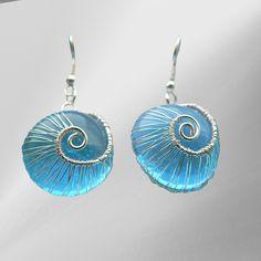 Blue woven snails earrings   JewelryLessons.com