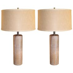 Pair of Nessen Cerused Oak Columnar Table Lamps   From a unique collection of antique and modern table lamps at https://www.1stdibs.com/furniture/lighting/table-lamps/
