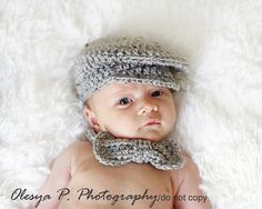Download PDF crochet pattern 045 - Driver cap and bow (tie) - Sizes 0-3mo