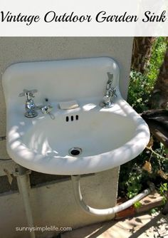 How we installed a vintage 1920s sink in our garden to create an outdoor garden sink for washing up hands and vegetables from the garden.[media_id:3249517]We…