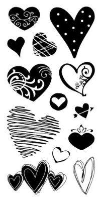 "Hearts Inkadinkado Clear Stamps 4""X8"" Sheet ICCSO-97637"