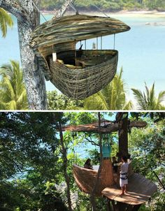 Thailand - Soneva Kiri Eco Resort, you get to the dining pod via elevator but your waiter gets there via zip line! (yep, that includes your drinks :-) The resort has 42 eco-friendly villas.