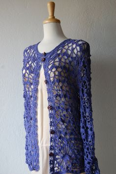 Crochet Cardigan in Cotton/Bamboo Wisteria lavender by LoyesThread, $85.00