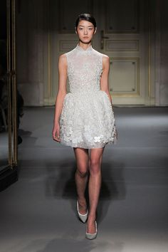 Girly white lace floral cocktail dress  at Georges Hobeika Spring Summer 2013 #Fashion Paris Couture Week #PFW