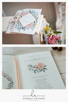 Frühling Hochzeitskarte Kirchenheft Hochzeitspapeterie Aquarellpapier Büttenpapier Blumen Pastell Seidenband Rosa